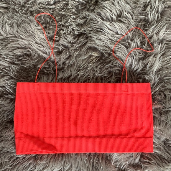 UO Red Tube Bralette Textured Top